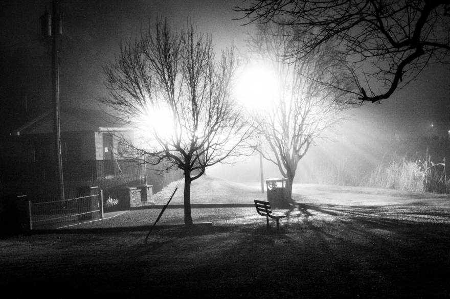 The Day Roger Got Abducted black and white night photograph bright light by hamilton pedrick